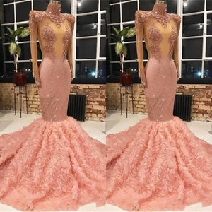Vintage Pink Prom Dresses 2019 Vintage Long Sleeve Lace Flowers Ruffles Sequined Long Evening Gowns robe de soiree BC1133