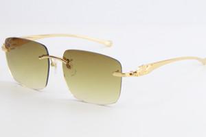 série gros léopard de vente Rimless Lunettes de soleil 8300816 Grand carré Lunettes de soleil cadre classique en métal de pilotes simples loisirs lunettes unisexe