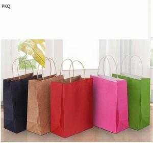 Kraft paper Gift bag with handle pink blue purple black wedding birthday party gift packaging paper bag
