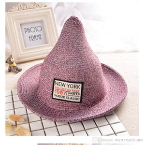 Spring summer cute spire show out children special black gray blue witch shade straw small hat