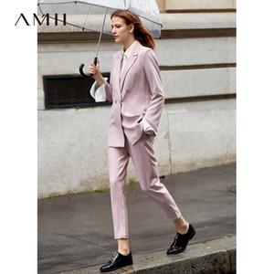 Amii Minimalista trajes de oficina mujer 2 piezas conjunto mujeres 2019 primavera manga larga chaqueta a rayas pantalones de cintura alta