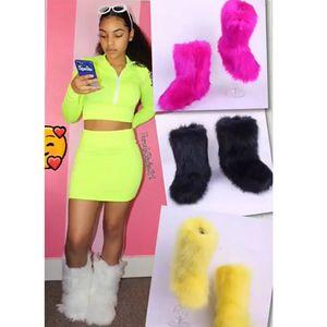SWONCO Botas de nieve peludas Mujeres Noen Color Zapatos de invierno Mujer 2019 Nuevos botines casuales femeninos para mujer Zapatos planos y cálidos