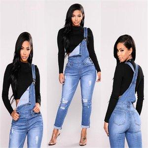 Women Ripped Denim Jeans Womens Hole Long Overalls Slim Jeans Dungarees High Waist Pencil Stretch Pants Plus Size Zipper Jeans