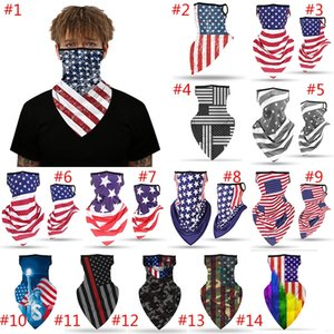Ice Silk Face Mask American Flag Masks Breathable Ear Scarf Outdoor Riding Windproof Protetive Mask Scarf Party Supplies HH9-3043