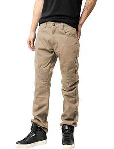 Hat and Beyond Mens Biker Jeans Straight Fit Distressed Hip Hop Zipper Denim Pants