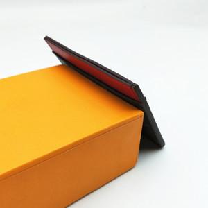 Designer Classic Luxury Famous Uomini Donne Plaid Check Floral porta carte di credito rivestito in tela con vera pelle Mini piccolo portafoglio con scatola