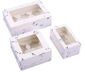 Caixas de presente Embalagem de casamento 100pcs / lot Padrão Marble Transparente Janela Baking Box Redonda Cup Cake Box West Point Muffin