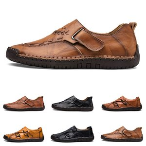 new Hand stitching men's casual shoes set foot England peas shoes leather men's shoes low large size 38-48 one
