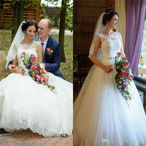 Arabic A-Line Wedding Dresses Long Tulle Lace Appliques with Beads Sash Vintage Cheap Modest Women Custom Made Bridal Gowns