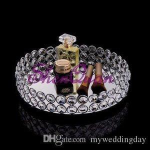 El matrimonio bandeja de decoración de la torta, espejo cristalino bling bling de Cuentas de bandeja de tocador en plata, bandeja de la torta del metal