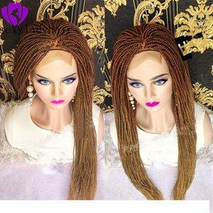 Nouveau mode ombre blonde Tressage Cheveux Synthétiques Avant de lacet wigss pour les Femmes Résistant À La Chaleur Fiber De Cheveux Wigss Prime pleine tresse Perruques Pour Wome