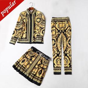 3 pezzi Set Primavera Estate Fashion Runway Suit Imposta le donne Vintage stampato floreale Camicie + mini gonne a pieghe + matita Pant Jc1885