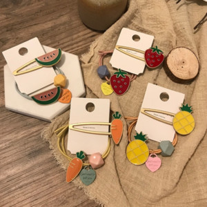 Creative cartoon ins elegant Fruit b accessories women's sweet and lovely alloy fruit children's hair clip hair band set