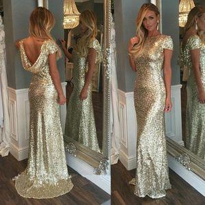 패션 샴페인 골드 장식 조각 긴 들러리 드레스 반짝 짧은 소매 등이없는 웨딩 주니어 파티 가운 메이드 명예 드레스