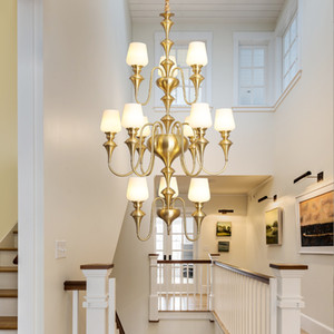Escalier américain cuivre à long Lustre à trois couches de verre Lustre Lighitng moderne Villa Duplex Bâtiment Hôtel creux lampes haute Pendentif