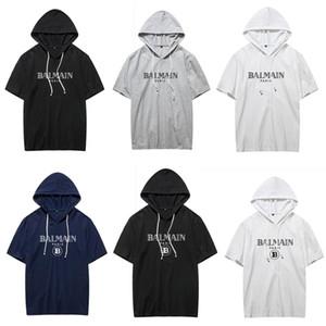 New Balmain-Sommer-T-Shirt mit Cap Cotton Männer Art und Weise Kurz-Hülse Supply Co Male Tops Tees Skate Marke Hip Hop Sport-Bekleidung