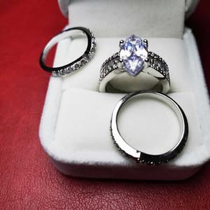 2020 Luxury 925 Sterling Silver Anillo de bodas para las mujeres Anillos apilables de 3 piezas Conjuntos de aniversario nupcial Regalo de aniversario Lady Designer Diamond Jewelry