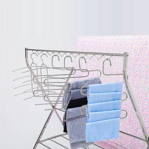 Moda multifunción de acero inoxidable Percha 5 capas en forma de S mágica Pant percha perchas toalla bufanda duradero ropa de almacenamiento en rack VT0875
