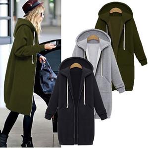 Frauen Frühling Herbst Pullover Cardigan Zipper Long Coat Sweatshirt Frau plus Größe 5XL beiläufige lose Maxi-Mantel-Frauen Hoodies