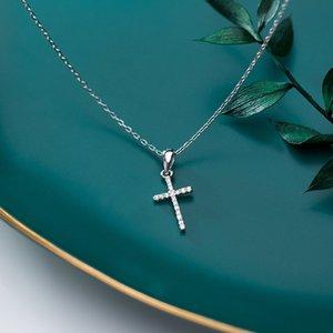 Echtes 925 Sterling Silber CZ Kristall Kreuz Anhänger Choker Halskette Für Frauen Mädchen Luxus Sterling Silber Schmuck Geschenk Bijoux