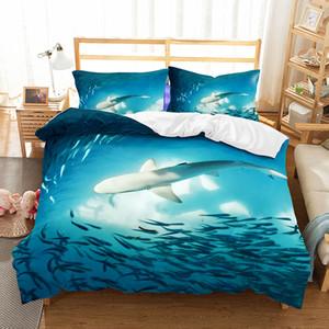 Set biancheria da letto Shark queen size copripiumino per bambini Con federe Lenzuola letto 3D set Tessili per la casa