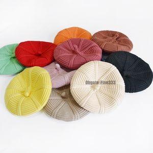 Mädchen Beret Hüte der Frauen-Winter-Hut Beret weiblich Wolle Baumwollmischung Cap 12 Farbe neue Frau Hüte Caps Boinas De Mujer