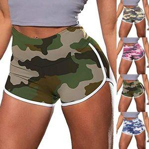 2020 di Nuova femmina Shorts donne Camouflage Stampa vita alta Pantaloni a metà gamba Yoga Shorts Esercizio Trainning Sport Casual