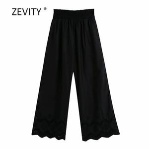 Zevity Kadın moda içi boş dışarı nakış siyah geniş bacak pantolon kadın şık elastik bel rahat pantalones mujer pantolon P869