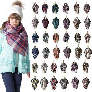 100 * 100 cm Crianças xadrez lenços listrados borlas cashmere lenço meninas tartan cachecol envolve inverno bebê lenço scarf xaile moda quente lenço-vestiário m697