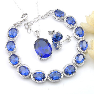 I monili LuckyShine sposa Matrimoni 3 set pezzi ovale Collana in argento 925 svizzeri topazio blu Pendantds Bracciale degli orecchini