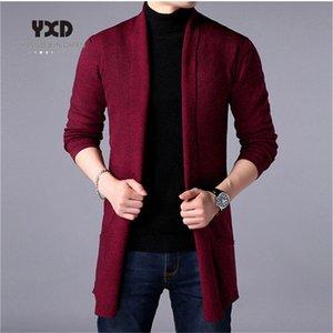 Ücretsiz nakliye 2020 yeni bahar sonbahar erkek giyim düz renk gündelik ince kazak ceket ceket k örme uzun hırka mens