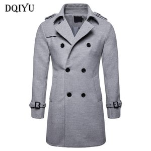 DQIYU England Style Long Cappotto Uomini Autunno Inverno Doppio Petto Trench Coat Uomini New formato casuale di lana Europe / US