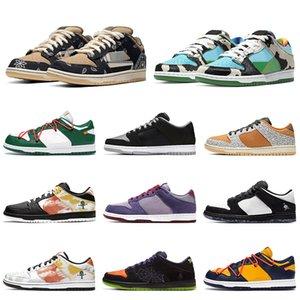 Nike Sb Dunk x Nike Air Jordan 1 Dunk Low Travis Scotts Zapatos casuales Plataforma Diseñador Hombres Mujeres Zapatillas de deporte Blanco Monopatín Chaussures