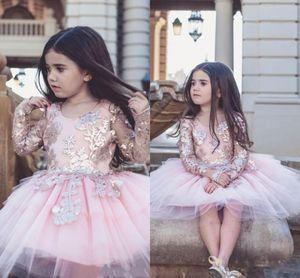 2019 Bella Blush Pink Tulle Flower Girl Dress Carino manica lunga paillettes abito di sfera della principessa ragazza festa formale compleanno pageat abito da sposa