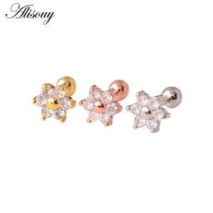Alisouy 316l Surgical Steel Clear Gem Zircon Flower Ear Tragus Bar Cartilage Earring Stud Piercing Fashion Jewelry For Sexy Girl