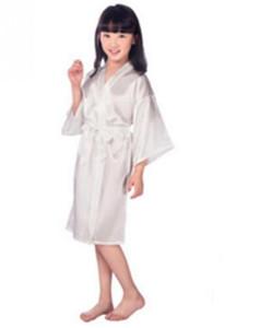 طفلة بنات كيد الحرير الحرير كيمونو الجلباب حمام ملابس الزفاف زهرة فستان ليلة