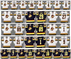 Vintage Vancouver Canucks Jersey 29 oyun 27 SERGIO MOMESSO 89 Alexander Mogiln 1 Kirk Mclean 21 yıl önce 9 COURTNALL Retro Hokey