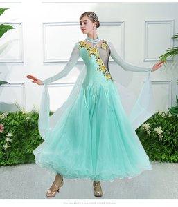 Light Green Ballsaal und moderne Standard-Kleid-Frauen-Tanz Flamenco-Rock Walzer Tango-Wettbewerb Tanzkleidung Kostüme F0004