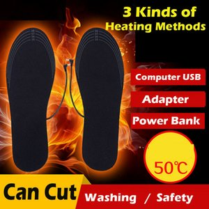 1Pair Winter Rechargeable Heated Insoles Foot Warmer Heater USB Charging Heat Boots Shoes Pad