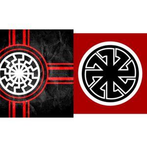 150cm*90cm Black Sun Flag Kolovrat Slavic Symbol Sun Wheel Svarog Solstice 3*5ft Polyester Custom Decorative Hanging Flag For Decoration
