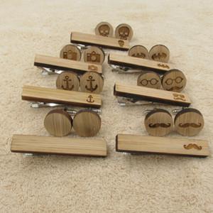 Bañera de madera corbata Gemelos clip conjunto conjuntos Clip bigote ancla cráneo Bat Enlaces del manguito lazo de los hombres