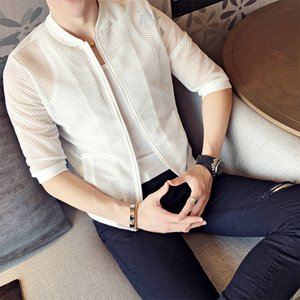 2019 summer social spirit guy sun protection clothing hollow nightclub stage wear men's sleeves thin jacket