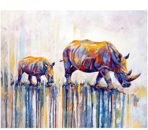 Kits Paint Adult Hand Painted DIY Painting By Numbers Oil Paint-Painted double cattle 16
