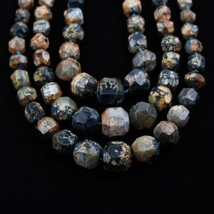 Full Strand, Natural Dragon Veins Ágata Perlas de pepita, Facetas Teñidas de azul Perlas sueltas Joyas para collar Colgantes