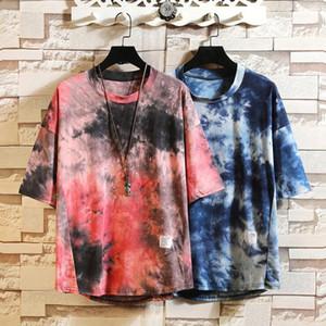 2020 Новая Радуга Tie краситель печати Футболка мужская Лето Мягкая Qaulity Личность Tee Boy Skate Tshirt Tops Хип-хоп Streetwear