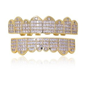 Hip Hop Ice Out 14K Gold Plated Teeth Grillz Wholesale Hip Hop Men's Body Accessories Fashion Teeth Jewelry