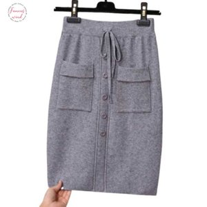 Women Autumn Elegant Knit Sweet Vintage Skirt High Waist A Line Wild Autumn Solid Color Bag Hip Mini Skirt