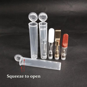Childproof tubo plástico resistente PP Squeeze Abaixo Cap tampa do depósito de Vape cartucho de 0,3 ml - 1,0 ml 510 Carrinhos de petróleo atomizador grossas embalagem