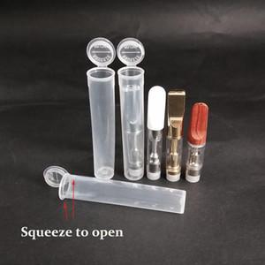 Kindersichere festes Rohr aus Kunststoff PP Squeeze Below-Kappen-Abdeckung Container Vape Cartridge 0,3 ml - 1,0 ml 510 Atomizer Dickes Öl Carts Verpackung