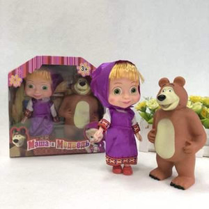 htt httoystore 3 Styles Cartoon Masha PVC Action Figures Bear Toys Model for Kids Children Birthday Gift with Original Box